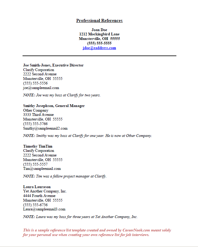 Resume Reference Page Examples