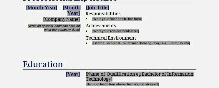 Functional Resume Format Free Download