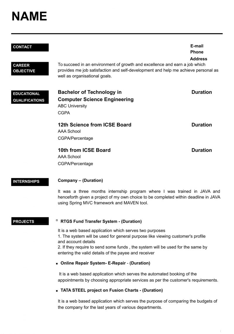 Good Resume Templates For Freshers
