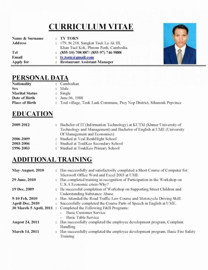 Sample Of Perfect Resume For Job Application