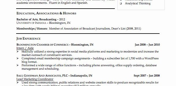 Resume Examples 2020 For College Students