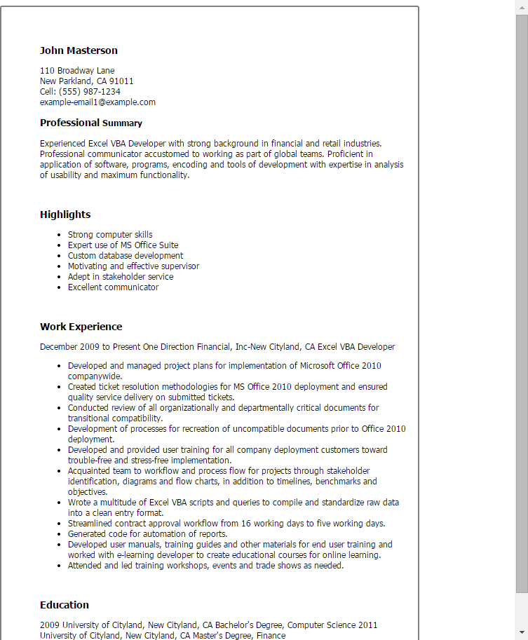 Sample Resume Basic Excel Experience