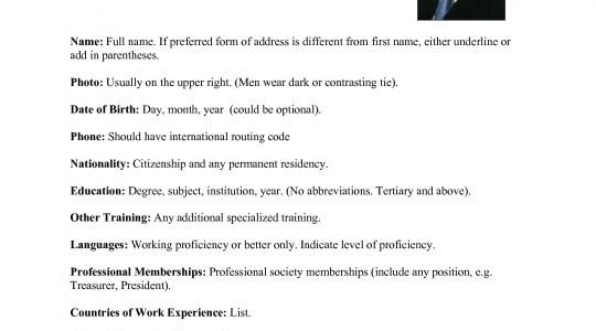 Work Abroad Resume Format