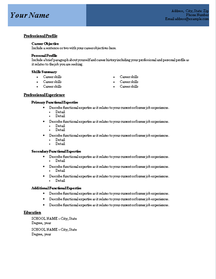 Functional Resume Template Word Doc