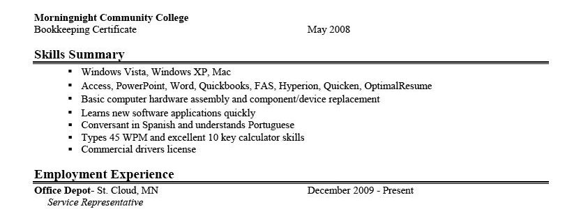 Resume Objective Sample For Students