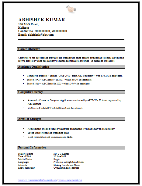 Perfect Resume Format For Freshers