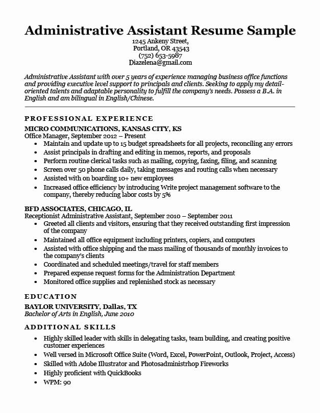 Resume Examples 2020 Administrative Assistant