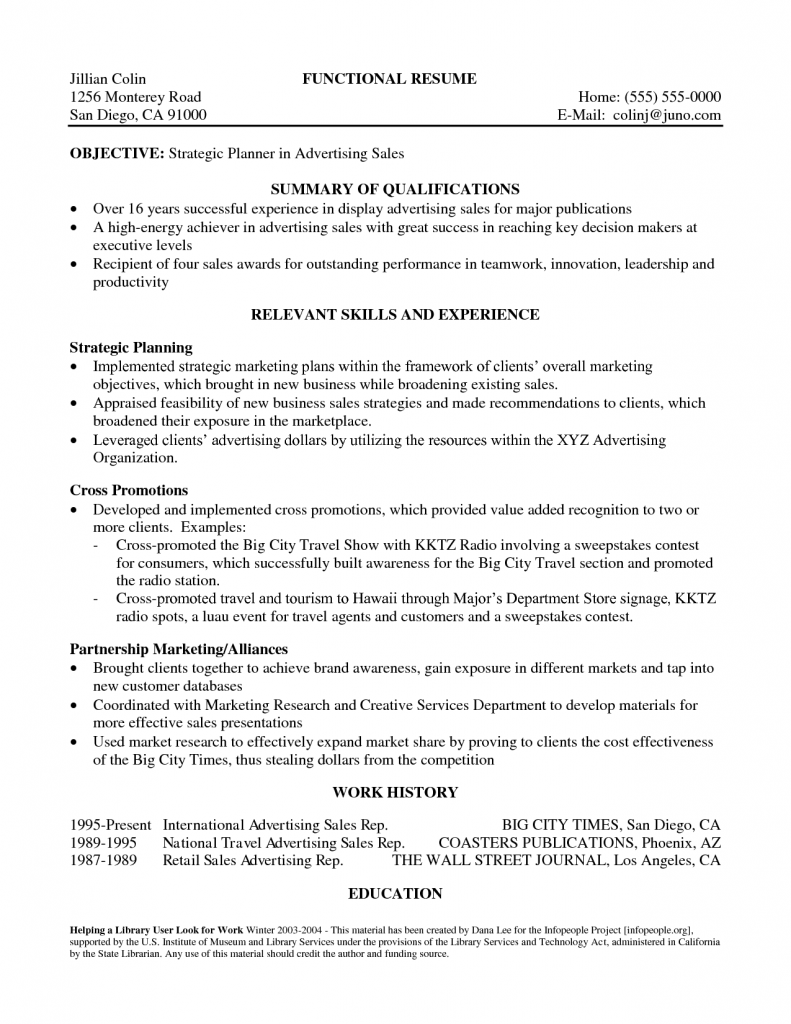 Sales Resume Summary Of Qualifications
