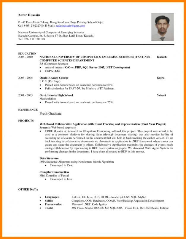 Resume Template Free Download For Fresh Graduate