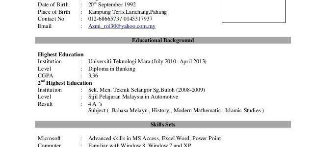 Resume Sample Malaysia For Fresh Graduates