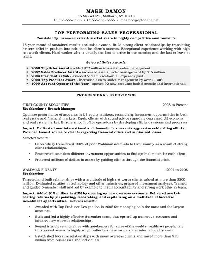 Sales Executive Resume Objective