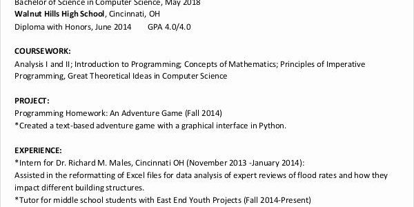 Objective For Resume Internship Computer Science