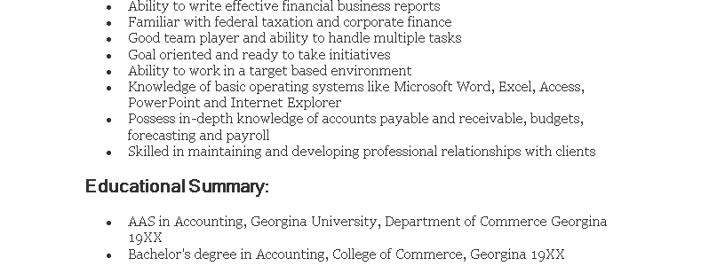 Resume Objective For Fresh Graduate Accounting