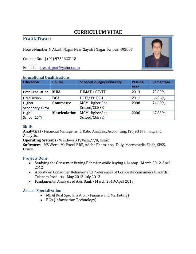 Resume Templates For Freshers Pdf