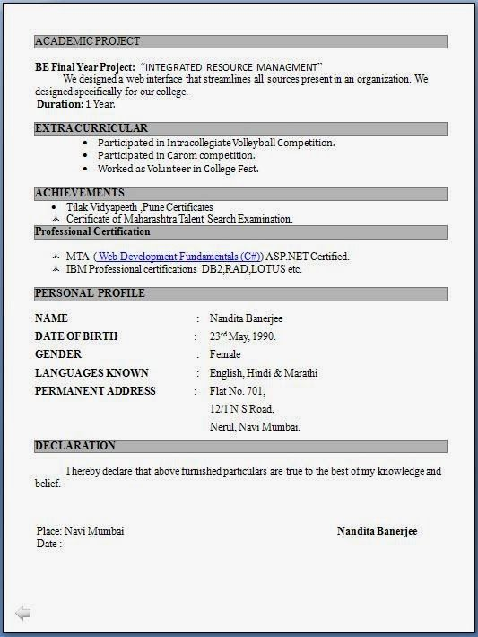 Student Resume Format Pdf Download For Freshers