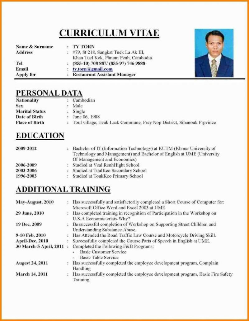 Images Of Resume For Job Application