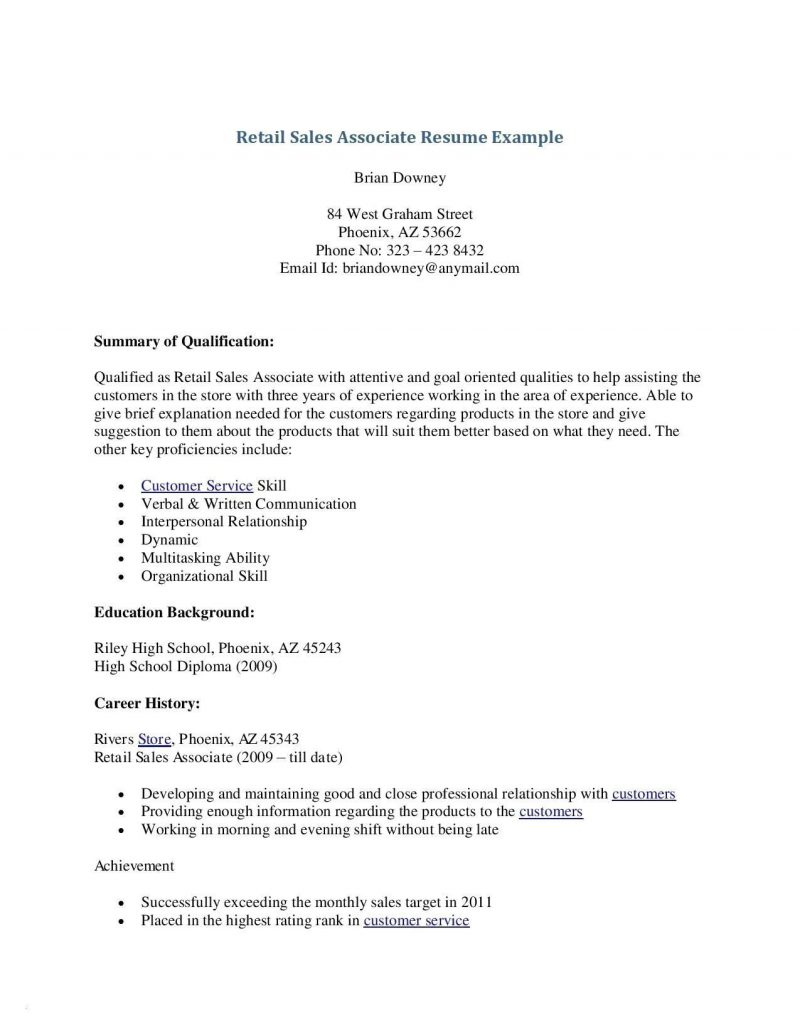 Sales Resume Examples No Experience