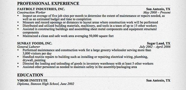 Skills On A Resume For Construction