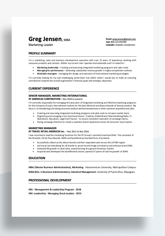 Professional Resume Template 2020
