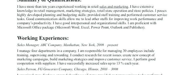 Objective Resume Examples For Retail