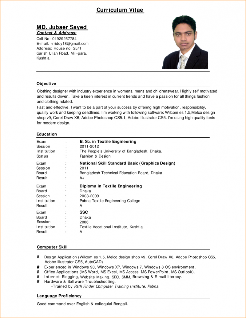 Resume Example For Job Application Pdf