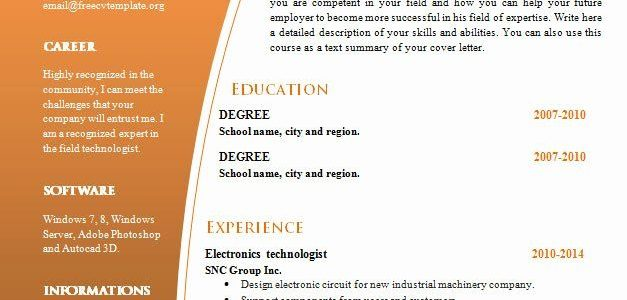 Free Resume Template Word Doc