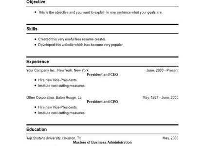 Resume Maker Free For Students