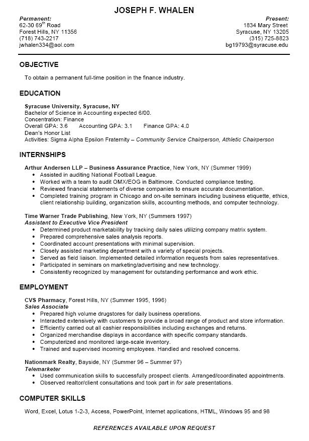 Good Resume Examples For College Students