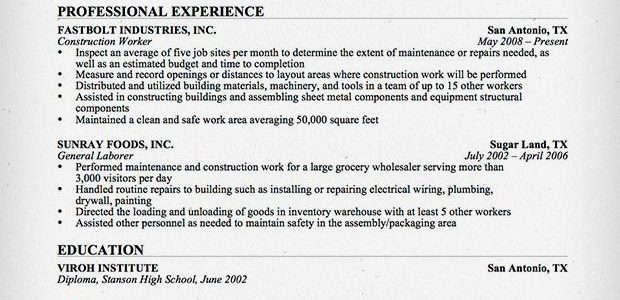 Resume Skills Examples For Construction