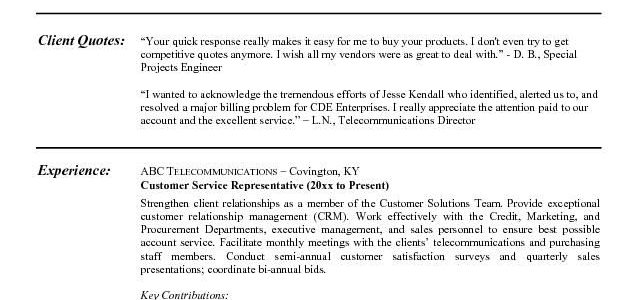 Simple Resume Examples For Customer Service