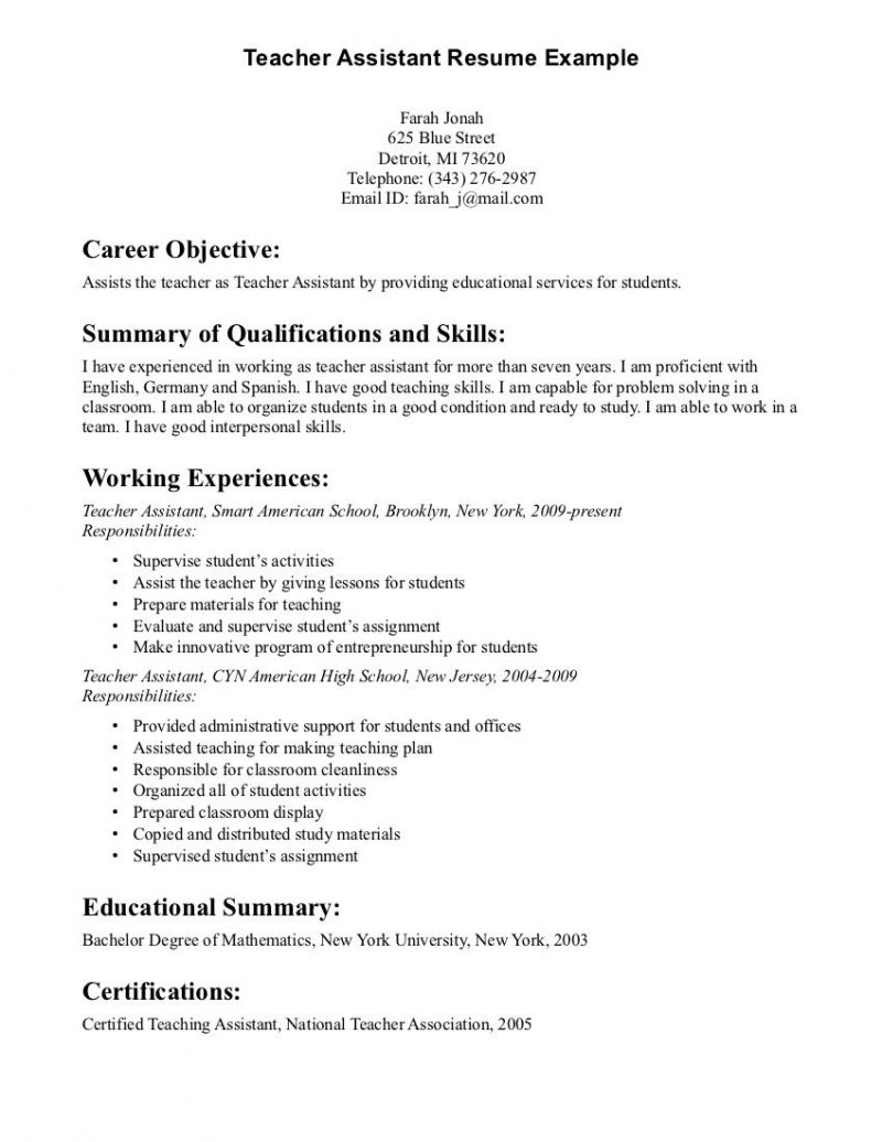 Resume Objective For Student Assistant