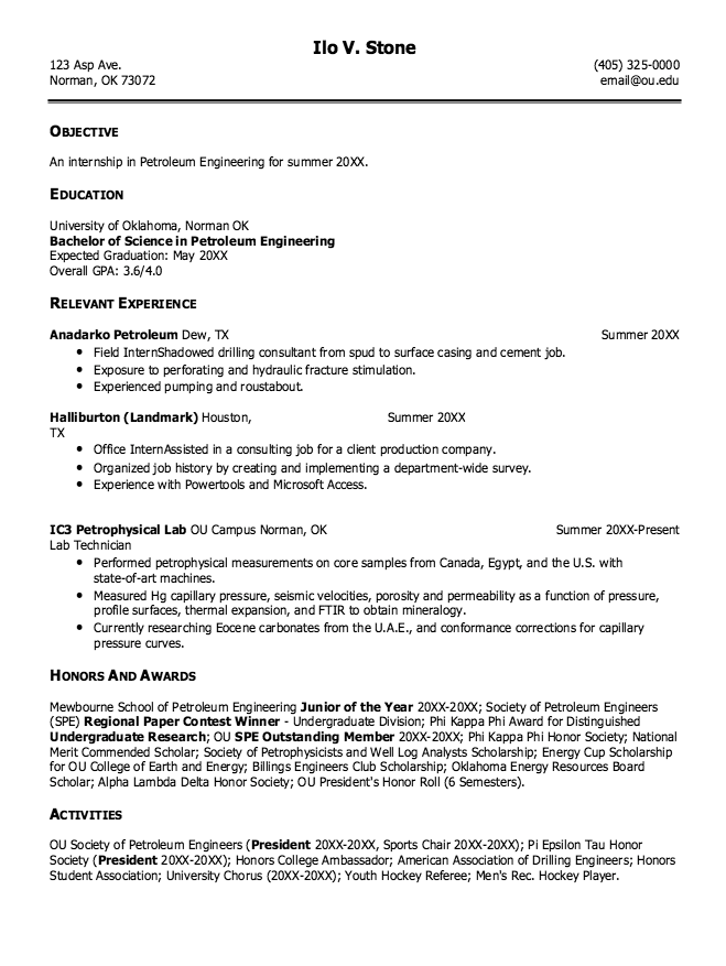 Resume Objective For Fresh Graduate Petroleum Engineer