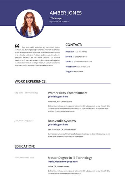 Resume Template Free Online