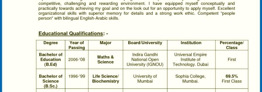 Sample Resume For English Teachers In India