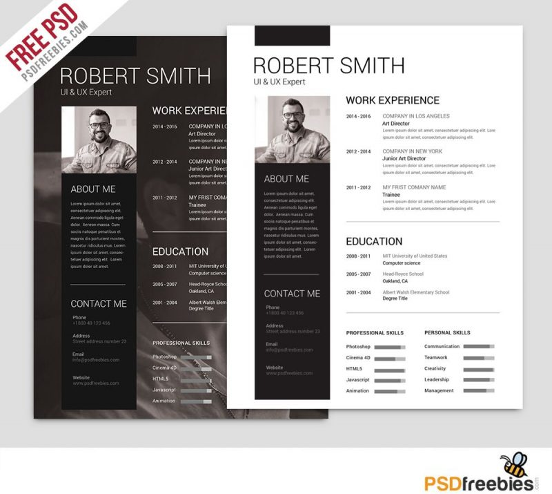 Free Architecture Resume Template Psd