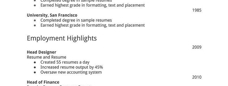 Images Of Simple Resume For Job