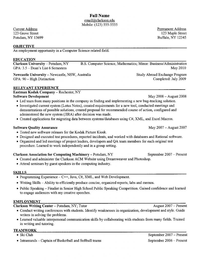 Resume Examples For College Students Computer Science