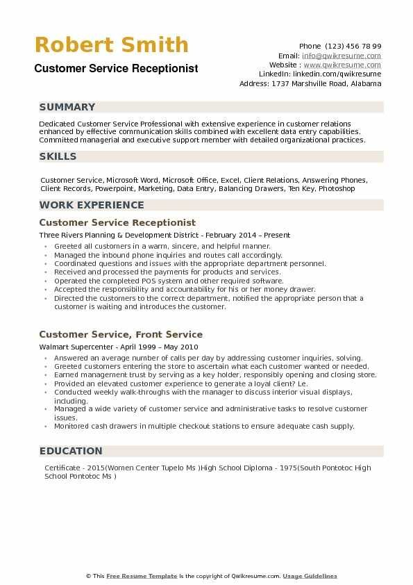 Skills Resume Customer Service Receptionist
