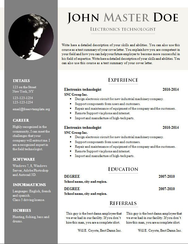 Resume Template Doc Download