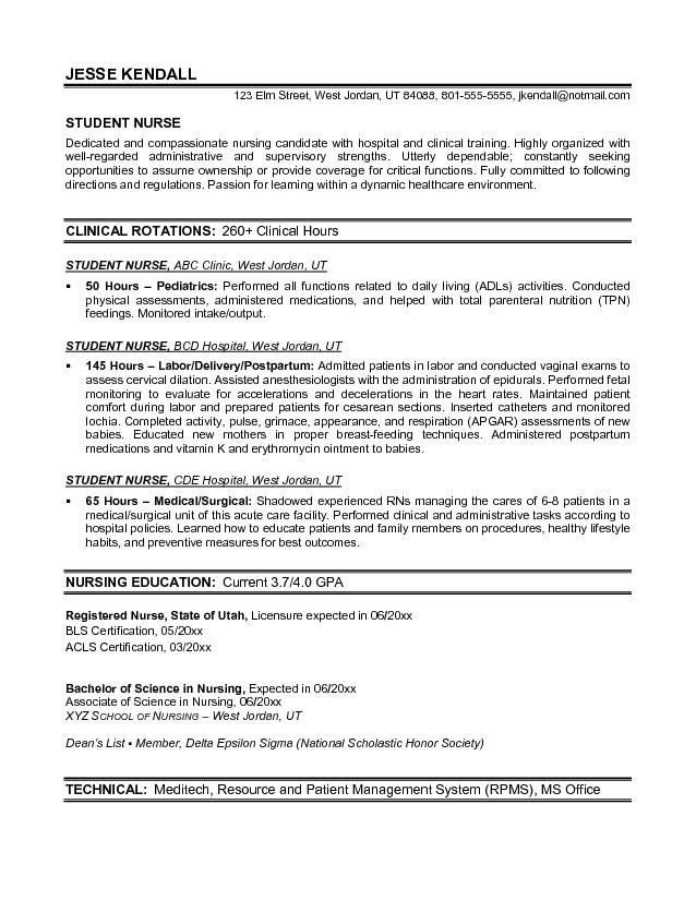 Resume Objective For Student Nurse