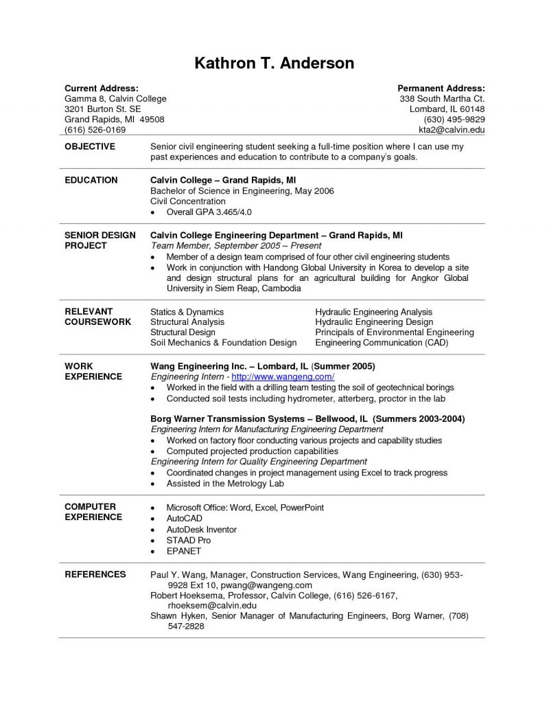 Good Resume Templates For College Students