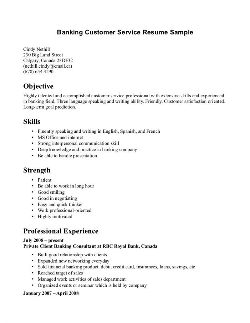 Objective For Resume Customer Service Banking
