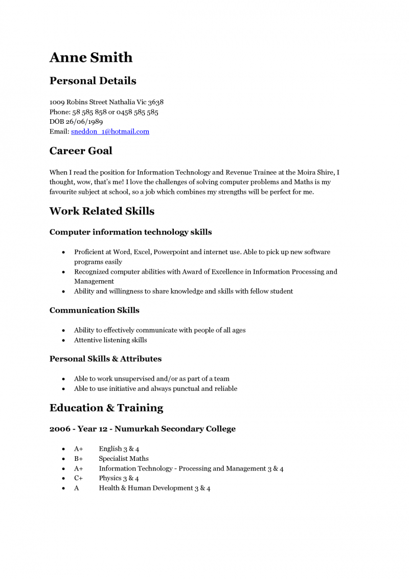 Skills For A Resume Teenager
