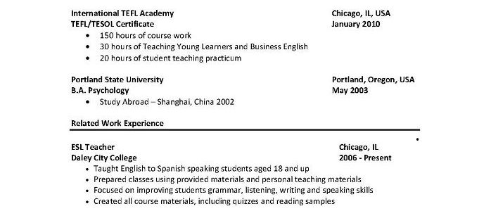 Sample Resume For English Teachers Without Experience