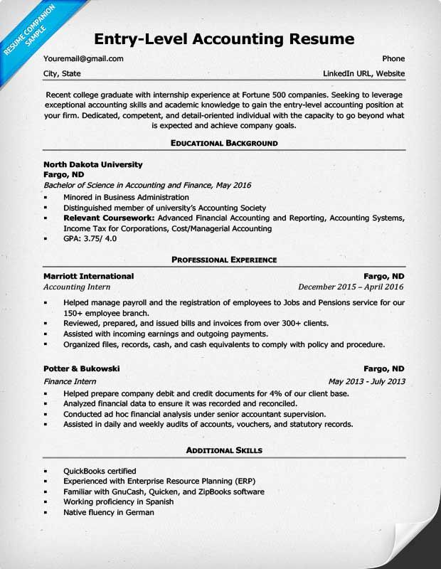 Resume Summary Examples Entry Level Accounting