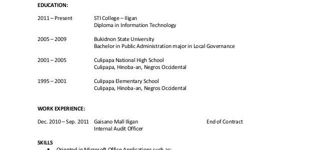 Objective For Resume Student Ojt