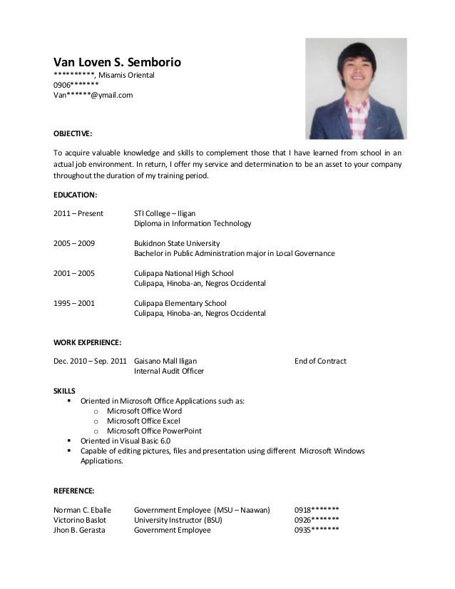 Resume Example Format For Ojt