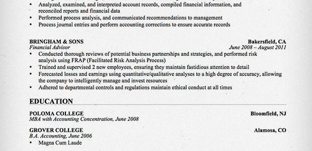 Resume Example For Accounting Internship