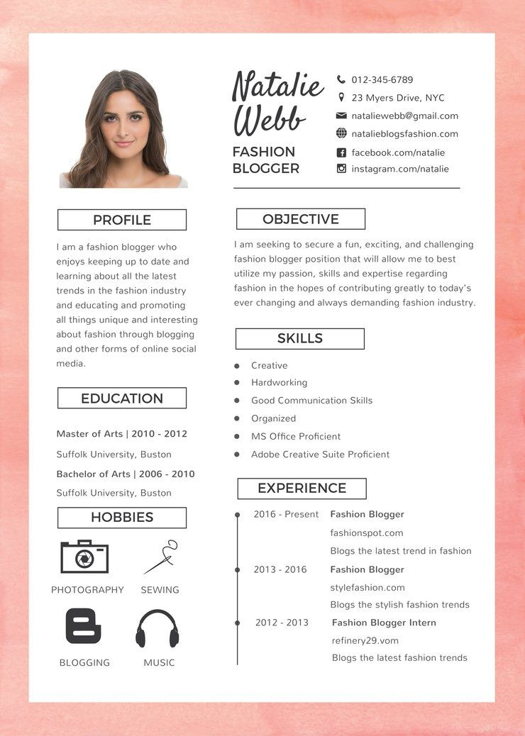 Resume Free Template With Photo