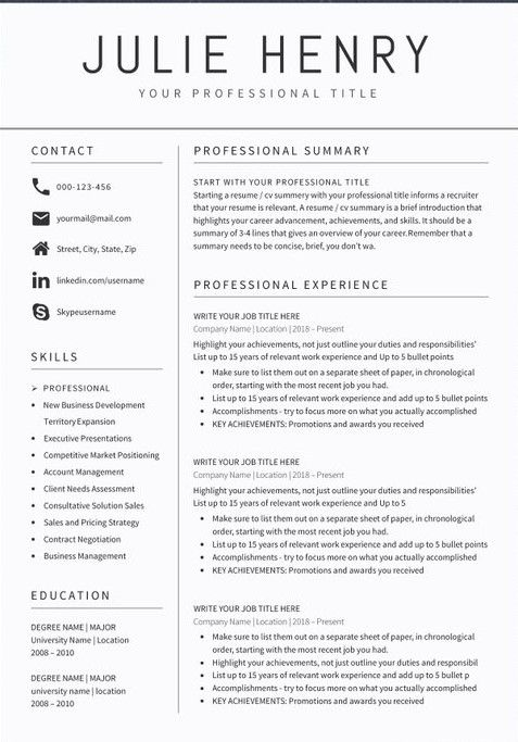 Professional Resume Examples 2020